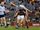 Galway's, Padraig Brehony,<br /> and<br /> Dublin's, Jamie Desmond and Glen Whelan,<br /> during the All-Ireland Minor Hurling Championship Final.<br />