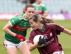 Galway v Mayo 2019 TG4 Connacht Ladies Senior Football Final replay at the LIT Gaelic Grounds, Limerick.<br /> Tracey Leonard, Galway, and Ciara McManamon, Mayo