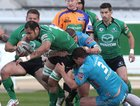 Connacht v Aironi RaboDirect PRO12 game at the Sportsground.<br /> Connacht's George Naoupu is tackled by Aironi's Lorenzo Romano and Matias Aguero. Connacht's Ethienne Reynecke and Frank Murphy support