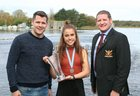 Kate O'Brien pictured with Cllr Eddie Hoare and John Forde Jnr, Galway Rowing Club, at the reception.