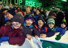 Young Connacht supporters in the Clan Stand at the Guinness PRO12 game against Munster at the Sportsground.