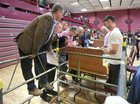 Getting a good view during the sorting of votes in the local and European elections and referendum at Leisureland