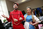 Shane Cuiinigham (Scott) and Jenni Flaherty (Beauty) before going on stage in the opening performance of the Renmore Pantomime, Beauty and the Beast, a new script by Peter Kennedy, at the Town Hall Theatre.