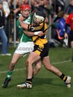 <br /> Moycullen's, Conor Bohan,<br /> and<br /> Four Roads, Darren Fallon,<br /> during the Connacht Intermediate Club Hurling Championship Final at Athleague.