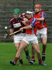 <br />  Clarinbridge's, Stephen Forde,<br />  and<br />  St. Thomas,  Bernard Burke and Cathal Burke,<br />  during the Senior Hurling Championship at Athenry.<br />