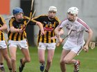 Galway v Kilkenny Under 20 Leinster Championship Hurling semi-final in Bord na Mona O'Connor Park, Tullamore.<br /> Galway goalkeeper Darach Fahy and Kilkenny's Stephen Donnelly and Sean Ryan