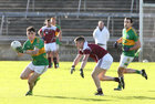 Claregalway v Williamstown Intermediate Football Championship final at the Pearse Stadium.<br /> Barry Callanan, Claregalway and John Smyth, Williamstown