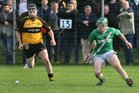 <br /> Moycullen's, Dan Kelly,<br /> and<br /> Four Roads, Mark McLoughlin,<br /> during the Connacht Intermediate Club Hurling Championship Final at Athleague.
