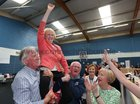 Cllr Terry O'Flaherty celebrates with Aonghus Ó Concannon (brother-in-law), her brother Tony O'Flaherty, and sisters Betty and Claire, after she was elected during the Galway City East count at the Westside centre.