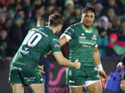 Connacht v Ulster Guinness PRO14 game at the Sportsground.<br /> Connacht's Bundee Aki celebrates scoring his try with Jack Carty