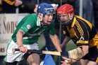 <br /> Moycullen's, Niall Mannion,<br /> and<br /> Four Roads, Tomas Lennon,<br /> during the Connacht Intermediate Club Hurling Championship Final at Athleague.
