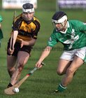 <br /> Moycullen's, Christopher Hurney,<br /> and<br /> Four Roads, Daren Fallon,<br /> during the Connacht Intermediate Club Hurling Championship Final at Athleague.