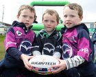 Alex, Luke and Simon O'Reilly from Corcullen at Connacht Rugby's family fun day at the Sportsground before the RaboDirect game against Aironi.