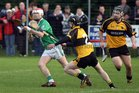 <br /> Moycullen's, Philip Lydon,<br /> and<br /> Four Roads,  Ciaran Dowd and Mark McLoughlin,<br /> during the Connacht Intermediate Club Hurling Championship Final at Athleague.