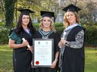 Steph Joyce, Sarah Furey and Siobhan Moorhead, all from Craughwell, after the conferring ceremony at NUI Galway. Steph and Siobhan were both conferred with a Certificate in Nurse Prescribing, and Sarah was conferred with the degree of Bachelor in Nursing, Honours.