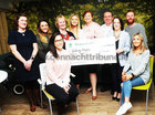 Ann Fitzpatrick, Smile for Shauna presents a cheque to Aisling Kearney, Galway Hospice.  Alsoin the picture are seated Orla Ni Fhlaitharearta and  Jane Gibbons, Standing Louise O'Flynn, Sarah Ni Mhainin, Amy O'Donnell, Eileen Nally, Brian Kenny and Brian Nally.
