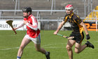Sylane v Micheal Breathnach's Junior 1 Hurling Championship final at the Pearse Stadium.<br /> Míchéal Breathnach's goalkeeper Kevin Ó Conghaile, and Oran Martin, Sylane