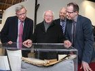 President Michael D Higgins with Professor Ciarán Ó hÓgartaigh, President of NUI Galway, Dr Ian Walsh, O'Donoghue Centre for Drama, Theatre and Performance, and Dr Barry Houlihan, NUI Galway Archivist, at the launch of the Siobhán McKenna Archive at NUI Galway.