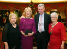 Eithne Carey, Chairperson of the Renmore Active Retirement Association, Sabina Higgins, guest of honour, Martin Lennon, Vice Chairperson, Renmore ARA, and Kay Murphy, National President, ARA, at the Renmore Active Retirement Association 20th anniversary dinner in the Galway Bay Hotel.