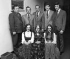 The Social Committee of O'Flaherty Markets, Galway, photographed at the staff annual dinner held in Flannery's Hotel, Galway, in November 1973. Seated (from left): Mrs. Deirdre Murray, Mises Nuala Mooney and Helene Clancy. Standing: Messrs. John Warren, Christy O'Flaherty, Bill Kealy, Ray McManus and Tommy Glynn.