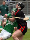 <br /> Tommie Larkins, Roderick Whyte,<br /> and<br /> Moycullen's, Conor Bohan,<br /> during the Senior Hurling Championship at Athenry.