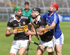 Beagh v Ardrahan at the Pearse Stadium.<br /> Adrian Tuohey and Tommy McKeown, Beagh, and Sean Gardiner, Ardrahan