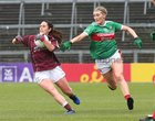 Galway v Mayo 2019 TG4 Connacht Ladies Senior Football Final replay at the LIT Gaelic Grounds, Limerick.<br /> Fabienne Cooney, Galway, and Grace Kelly, Mayo