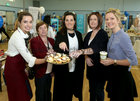 Sinead Tormay, Brazco Coffee Academy, Kathleen Burke, Ivory Lane, Jacinta Gibbons, Nail Chef at Brazco Coffee Academy, Pauline Thornton, Ivory Lane and Linda Lydon, Brazco Coffee Academy at the Bank of Ireland Enterprising Town competition hosted at Oranmore Community Centre. Oranmore was nominated for the national award.<br />