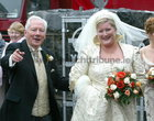 Gay Byrne arriving with his Daughter Crona for her at Spiddal Church. 28 September 2004