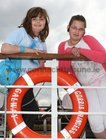 Arina Kavanagh and Viktorija Bajevaite on board the Corrib Princess for the launch of the 2012 Galway Regatta.