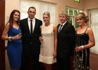 Connacht's John Muldoon, captain, and Fionn Carr pictured with Jessica McLean, Claire Mulcahy and Caoimh Ryan at the Connacht Rugby Awards dinner at the Ardilaun Hotel.