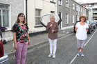Bernie Greaney, Helen Keating and Monica Coughlan during the entertainment at St Brigits Terrace, Prospect Hill, during Covid-19
