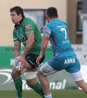 Connacht v Aironi RaboDirect PRO12 game at the Sportsground.<br /> Connacht's Mike McCarthy and Aironi's Simone Favaro