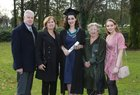 Jennifer Quirke from Craughwell with her parents Noel and Dr. Emer Quirke, grandmother Betty Quirke and sister Rachel after she was conferred with the degree of B Sc Honours (Physics) at NUI Galway.