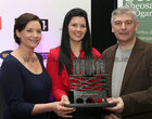 Bernadette Mullarkey, Cathaoirleach Ghaillimh le Gaeilge, Avril Smith (Winner of the 'Retail' category and overall winner of the Gradam), Jon Richards Galway Bay FM (Sponsor of the 'Retail' category),  at the Gradam Sheosaimh Uí Ógartaigh 2017 awards ceremony which took place in the Salthill Hotel, Gaillimh.<br />