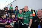Johnny O'Connor celebrating with his 9 months old son Jack after Connacht defeated Aironi  in the RaboDirect PRO12 game at the Sportsground on Saturday.