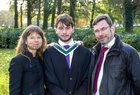 Thomas Hogan, Renmore Park, with his parents Louise Arrigan and Gerard Hogan after he was conferred with the degree of B A, Honours, in Spanish and Classics, at NUI Galway.
