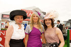 Julia McAndrew Oranmore, Michelle Murphy, Corofin,  and Joan Higgins Corofin, finalist in the Anthony Ryan Best Dressed Lady Competition at the Galway Races. Photo:Andrew Downes.<br />