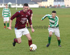 West United v Castlerea Celtic at South Park.<br /> Conor O'Loughlin, West United and Ronan Curran, Castlerea Celtic