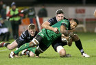 Connacht v Ospreys Guinness Pro14 game at the Sportsground.<br /> Connacht's Naulia Dawai and Olly Cracknell and Daf Howells, Ospreys