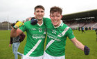 Moycullen v Mountbellew-Moylough Senior Football Championship final at Pearse Stadium.<br /> Moycullen's Neil Ó Maolcarthaigh and Eoghan Ó Galloichuir celebrate