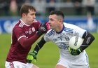 Galway v Cavan Allianz Football League division 1 game at the Pearse Stadium.<br /> Padraig Cunningham, Galway, and Cavan goalkeeper Raymond Galligan