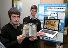 "Garbally College, Ballinasloe, students Ruairi McKenna Carroll and Alan Harney at the Regional Finals for ""Junior Dragons Den"" at The Bank of Ireland, Eyre Square. 14 Regional Finalists took part at the event from which 7 were chosen to compete at the National Finals. The winners of the National Finals will go in front of the Dragons and can win investment for their businesses. The Junior Dragons Den will air on RTE in early 2013."