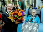 <br /> Cllr Pearce Flannert, Mayor of Galway makes a presentation to Kitty Kelly, to mark her 104th Birthday  at a party at Unit five Merlin Park Hospital.