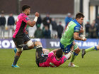 Connacht vs Brive European Rugby Challenge Cup Round 4 game at the Sportsground.<br /> Connacht's Quinn Roux tackled by Brive's Etienne Herjean
