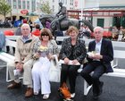 Fergus and Ann Curran, Limerick, with Betty and Paddy Sheridan, Portlaoise relaxing at Ballybrit last night.