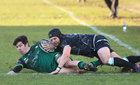 Connacht v Ospreys Guinness PRO14 game at the Sportsground.<br /> Connacht's Alex Wootton tackled by Daniel Evans, Ospreys