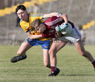 Galway v Roscommon Minor Football Championship game at Tuam Stadium.<br /> Daniel Cox, Galway, and Dylan Gaughan, Roscommon