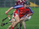 <br />  Clarinbridge's, Mark Kerins,<br />  and<br />  St. Thomas, Kenneth Burke,<br />  during the Senior Hurling Championship at Athenry.<br />