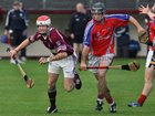 <br />  Clarinbridge's, Bary Daly,<br />  and<br />  St. Thomas, Kenneth Burke,<br />  during the Senior Hurling Championship at Athenry.<br />